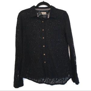 [VOLCOM] Sheer lace button down see thru shirt M